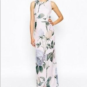 Lovely floral print with dragonflies and peaches.